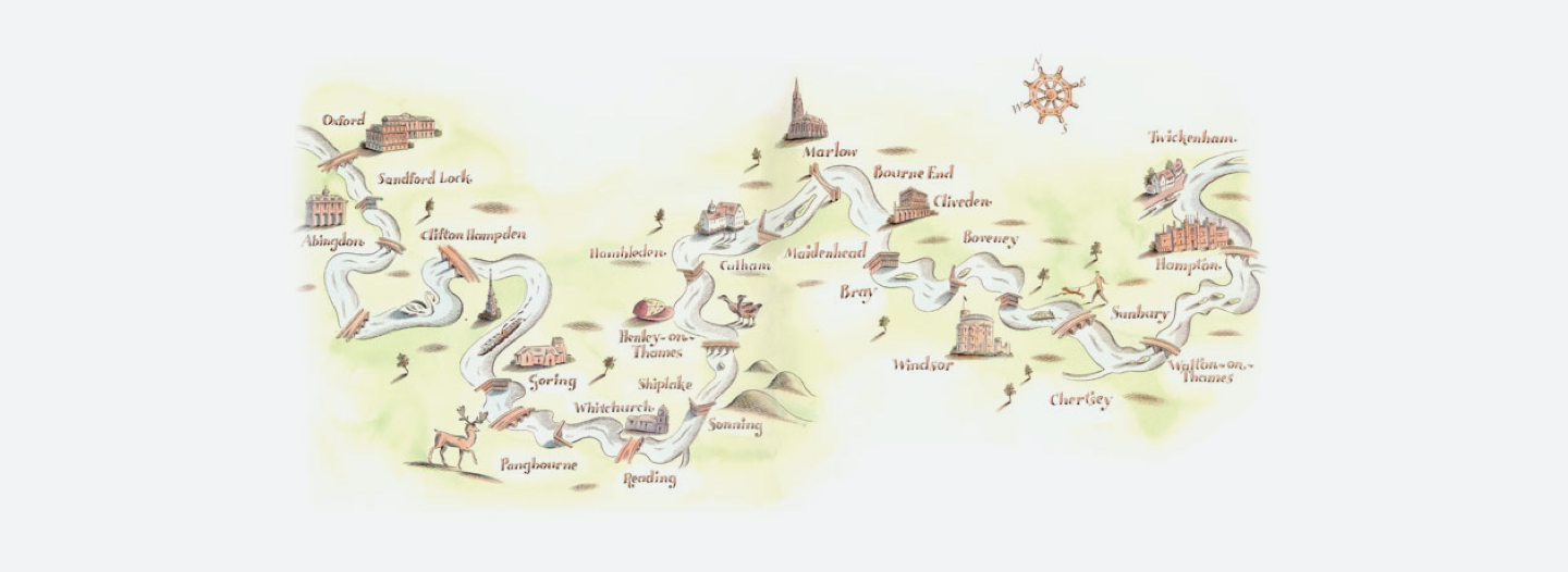 Illustrated map of the Thames